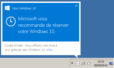 Réserver Windows 10 popup